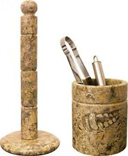 Heavy fossil marble granite utensil and kitchen roll holder set for home or gift