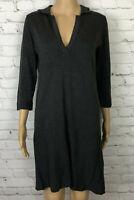 Max Studio Sweater Dress Gray V Neck Collared 3/4 Sleeve Women's Size M