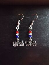 Red, white & blue crystals-USA-silvertone-NICKEL FREE Hooks-earrings-4th of July