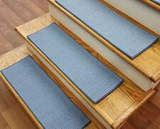 "Lt Blue Stair Treads by Rug Depot - Set of 7 Wool Non Slip Carpet Treads 27""x9"""