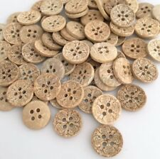 100pcs Natural Coconut Shell Buttons Fit Sewing Or Scrapbooking DIY Bck027