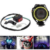 2Pcs U7 Motorcycle Headlight Angel Eyes Light LED Fog Spotlight + Switch Kits I2