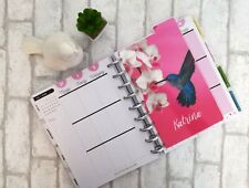 Hummingbird Custom Disc Bound Planner Dashboard Pink Butterfly Page Divider Tab