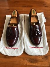 Salvatore Ferragamo Italy Mens  Cherry Brown Leather Dress Loafers Shoes 8.5 C