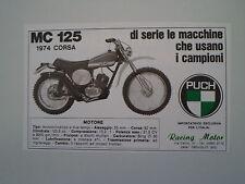 advertising Pubblicità 1974 MOTO PUCH MC 125