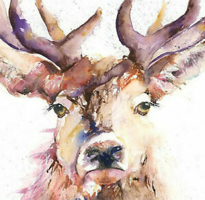 Limited Print of PROUD STAG original watercolour by HELEN APRIL ROSE   472