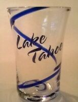 "Lake Tahoe Clear Shot Glass w/ Royal Blue Swirl Unique California  2 3/4"" Tall"