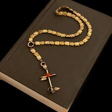 Antique Vintage Nouveau 14k Gold Filled GF Catholic Rosary Cross Coral Necklace