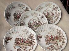3 grandi piattini Profondo & 2 scanalata RIM piattini Johnson Bros Antiche Torri colorate