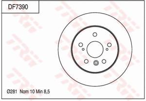 TRW Brake Rotor Rear DF7390S fits Lexus ES ES300h (AVV60)