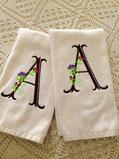 Monogrammed Personalized Embroidered Hand or Kitchen Towels (Set of 2) NEW