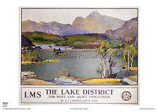 Lake District Rydal Acqua Vintage con VIAGGIO FERROVIARIO poster pubblicitari