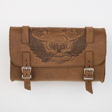Genuine Leather Brown Motorcycle Tool Bag - American Made - Skull & Wings