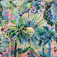 Lilly Pulitzer LILLY'S HOUSE Top Small Floral Blue Sun Monkeys Palm Trees Shirt