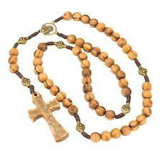 Olive Wood Rosary with St.John's Cross Latin Holy Land Cross with Jerusalem Soil