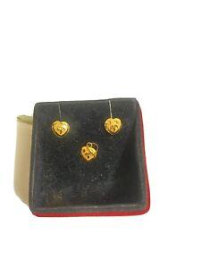 21ct Yellow Gold TinyBut Beautiful Earrings&Pendent Set.Hall Marked.1 Gram.Dubai