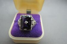 Sterling Silver Ring Victorian Design Purple Faceted Stone 3.5g Size 7.25