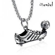 MENDEL Shoe Charm Football Soccer Ball Pendant Necklace Stainless Steel Jewelry