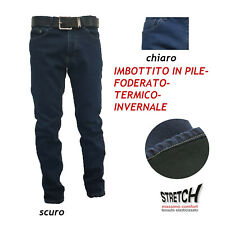 Jeans Uomo 5t Invernale Imbottito Pile Felpato Foderato Pantalone 46-64 Termico