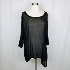 Women's Eileen Fisher black dolman sleeve semi sheer top asymmetrical hemline XS