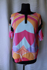 🔻Byblos   Womens Blouse Top size L Made in Italy Short Sleeved MultiColor