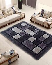 Luxurious Thick Pile Rug Modern Soft Silky Contemporary Shaggy Rugs Mats UK Black Silver Grey Bricks 90x150cm (3x5')