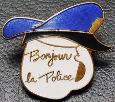"Vintage 1970s Quebec Canada Police White Lapel Pin, ""Bonjour la Police"""