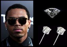 Chris Brown 10mm Oversized Bling 22ct White Gold Plated Diamond Crystal Earrings