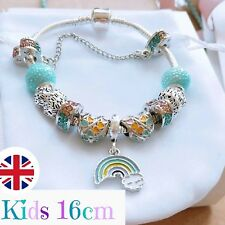 *UK* Childrens 16cm Silver Rainbow Charm Bracelet Beads Spacers Safety Chain