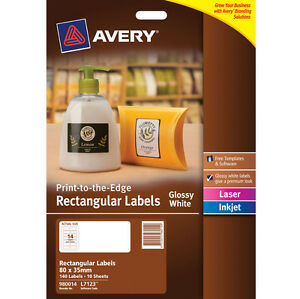 Avery Label 980014 L7123 Glossy White Rectangle 140 Labels per Pack