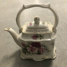 Crown Dorset Staffordshire Vintage Carriage Style Teapot Pink Roses & Gold Trim