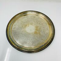 Vintage Silver Plated Round Serving Tray with Floral Patterns 11 inches Diameter