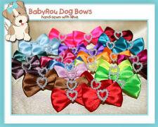 ~BabyRou~ 100 Dog Grooming Pet Ribbon Bows (Pearly Hearts) *Sale!* UP:$59.99