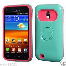 Sprint Samsung Galaxy S2 4G Hybrid Hard Case Skin Cover w/Stand Green Hot Pink