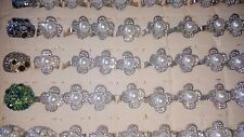 Job lot of 50 pcs Pearl & Diamante Fashion Rings - NEW Wholesale