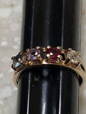 10K YELLOW GOLD TOPAZ PERIDOT RUBY FOUR STONE RING BAND SIZE 5.5