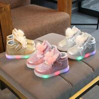 Toddler Infant Kids Baby Girls Cartoon Rabbit LED Luminous Sport Shoes Sneakers