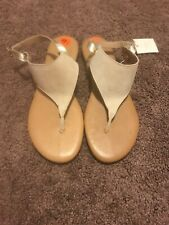 Sophia Milano Italian Leather Beige Sandals Comfort Gold Ankle Strap 9.5 NEW