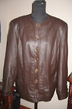 Spiegel womens leather jacket vintage size 10 / 12 brown with brass buttons