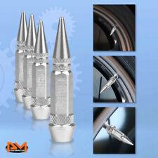 4 Pcs Silver Aluminum Tires Stem Caps 60mm Spiked Lug Nug Wheel Air Valve Cover