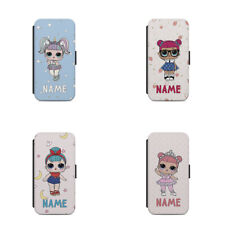 Personalised name initials gift for kids LoL Dolls Wallet phone case