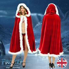 Women Christmas Red Adult Ladies Fancy Dress Costume Cloak Cape 1.5m Cape Velvet