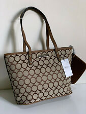NEW NINE WEST SOCIETY GIRL BROWN SHOPPER TOTE BAG PURSE w/ WRISTLET POUCH WALLET