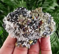 Top Quality Iridescent Chalcopyrite with Quartz and Sphalerite, Crystal, Mineral