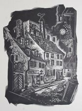 OLD RIGA CATHEDRAL, RARE WOODBLOCK PRINT By A JUNKERS, LATVIA 1942: LIMITED EDN.