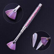Gradient Fan Nail Art Brush Dust Cleaner Pen Pink Rhinestone Handle Manicure