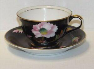 Occupied Japan Chugai Hand Painted Tea Cup & Saucer Black,pink poppies Vintage
