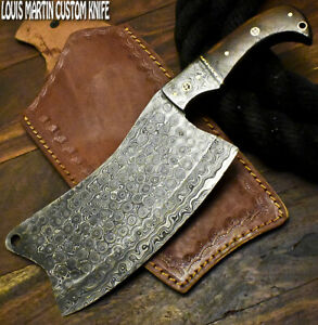 Louis Martin Handmade Damascus Walnut Wood Hunting Clever Chopper Axe Knife