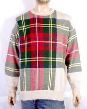 vtg 90s Nautica Big Check Plaid Crew Sweater Linen Blend Hip Hop 92 93 sz L