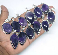 20 PCs Natural Amethyst Gemstone .925 Silver Plated Pendants For Christmas Gift